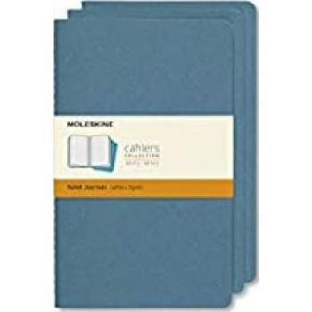 Moleskine Cahier Notebook Set of 3  Ruled Large Brisk Blue