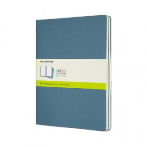 Moleskine Journal Cahier Extra Large Plain Blue: Set of 3