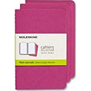 Moleskine Journal Cahier Pocket Plain Pink: Set of 3