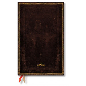 2022  Paperblanks Diary: Black Moroccan Week at a Time, Horizontal, Maxi
