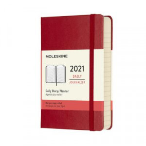 2021 Moleskine Daily Diary, Pocket Scarlet Red Hardcover