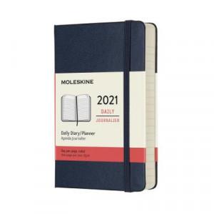 2021 Moleskine Daily Diary, Pocket Sapphire Blue Hardcover