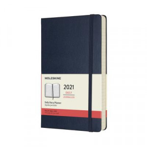 2021 Moleskine Daily Diary, Large Sapphire Blue Hardcover