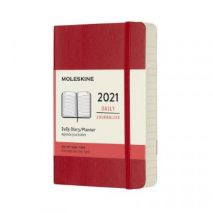 2021 Moleskine Daily Diary, Pocket Scarlet Red Softcover