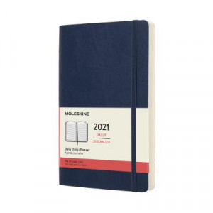 2021 Moleskine Daily Diary, Large Sapphire Blue Softcover