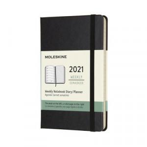 2021 Moleskine Weekly + Notes Diary, Pocket Black Hardover