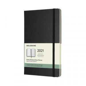 2021 Moleskine Weekly + Notes Diary, Large Black Hardcover