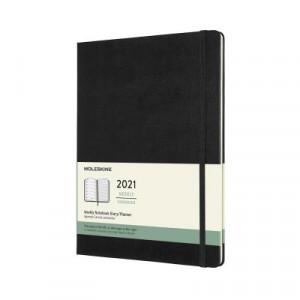 2021 Moleskine Weekly + Notes Diary, Extra Large Black Hardcover