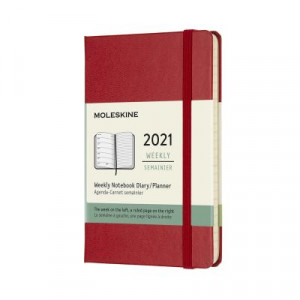 2021 Moleskine Weekly + Notes Diary, Pocket Scarlet Red Hardover