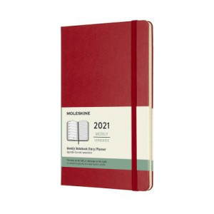 2021 Moleskine Weekly + Notes Diary, Large Scarlet Red Hardcover