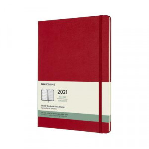 2021 Moleskine Weekly + Notes Diary, Extra Large SCarlet Red Hardcover