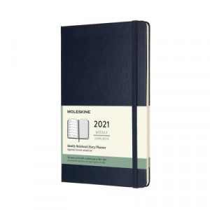 2021 Moleskine Weekly + Notes Diary, Large Sapphire Blue Hardcover