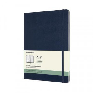 2021 Moleskine Weekly + Notes Diary, Extra Large Sapphire Blue Hardcover