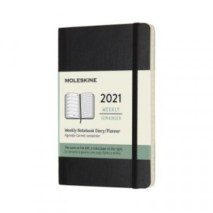 2021 Moleskine Weekly + Notes Diary, Pocket Black Softcover
