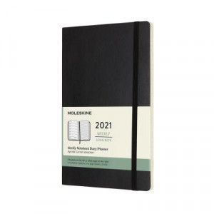 2021 Moleskine Weekly + Notes Diary, Large Black Softcover