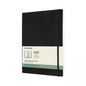 2021 Moleskine Weekly + Notes Diary, Extra Large Black Softcover