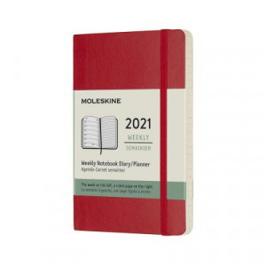 2021 Moleskine Weekly + Notes Diary, Pocket Scarlet Red Softcover