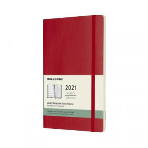 2021 Moleskine Weekly + Notes Diary, Large Scarlet Red Softcover