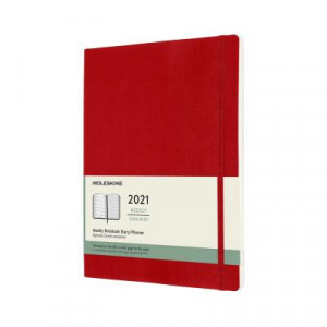 2021 Moleskine Weekly + Notes Diary, Extra Large Scarlet Red Softcover