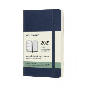 2021 Moleskine Weekly + Notes Diary, Pocket Sapphire Blue Softcover