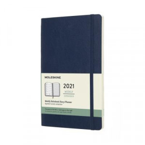 2021 Moleskine Weekly + Notes Diary, Large Sapphire Blue Softcover