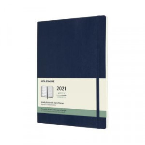 2021 Moleskine Weekly + Notes Diary, Extra Large Sapphire Blue Softcover
