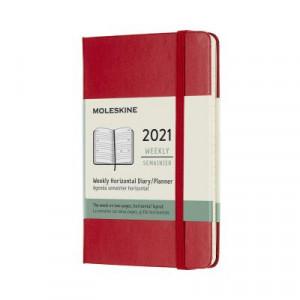 2021 Moleskine Weekly Diary, Pocket Scarlet Red Hardcover