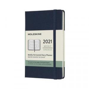 2021 Moleskine Weekly Diary, Pocket Sapphire Blue Hardcover