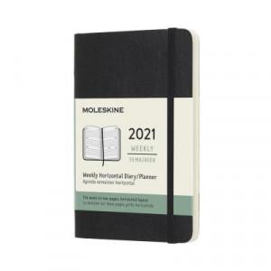 2021 Moleskine Weekly Diary, Pocket Black Softcover
