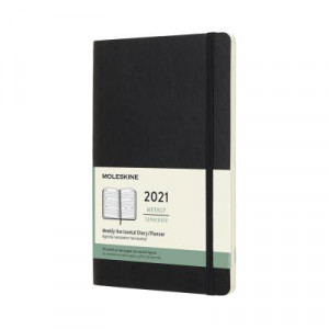 2021 Moleskine Weekly Diary, Large Black Softcover