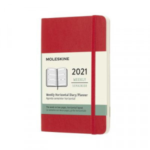 2021 Moleskine Weekly Diary, Pocket Scarlet Red Softcover