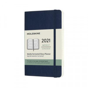 2021 Moleskine Weekly Diary, Pocket Sapphire Blue Softcover