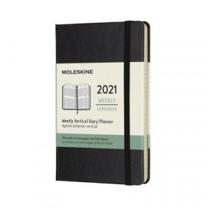 2021 Moleskine Weekly Vertical Diary, Large Black Softcover