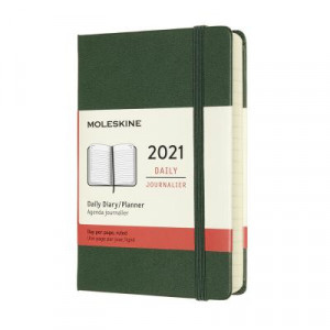 2021 Moleskine Daily Diary, Pocket Myrtle Green Hardcover