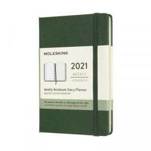 2021 Moleskine Weekly + Notes Diary, Pocket Myrtle Green Hardover