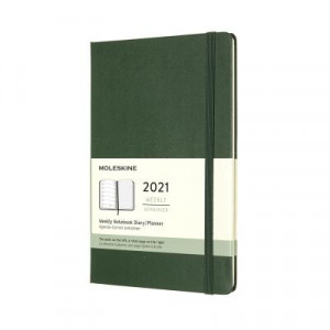 2021 Moleskine Weekly + Notes Diary, Large Myrtle Green Hardcover