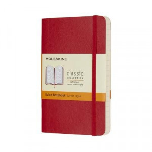 Moleskine Classic Soft Cover Notebook Ruled Pocket Scarlet Red