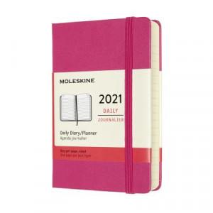 2021 Moleskine Daily Diary, Pocket Bougainvillea Pink Hardcover