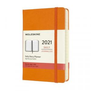 2021 Moleskine Daily Diary, Pocket Cadmium Orange Hardcover