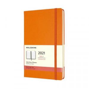 2021 Moleskine Daily Diary, Large Cadmium Orange Hardcover