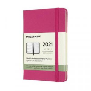 2021 Moleskine Weekly + Notes Diary, Pocket Bougainvillea Pink Hardover