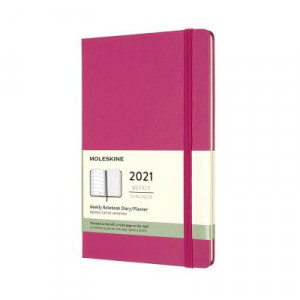 2021 Moleskine Weekly + Notes Diary, Large Bougainvillea Pink Hardcover