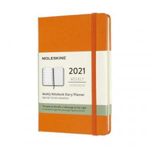 2021 Moleskine Weekly + Notes Diary, Pocket Cadmium Orange Hardover