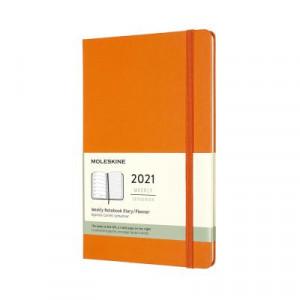 2021 Moleskine Weekly + Notes Diary, Large Cadmium Orange Hardcover