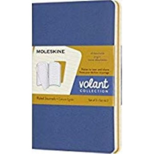 Moleskine Volant Ruled Journal, Pocket Blue/Amber Yellow
