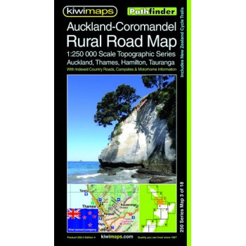 Kiwimaps Auckland Coromandel Rural Road Map 250-3 4th ed