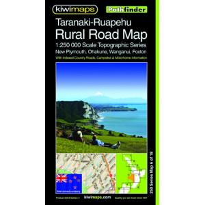 Kiwimaps Taranaki-Ruapehu Rural Road Map 250-6