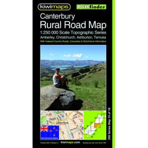 Kiwimaps Canterbury Rural Road Map 250-13