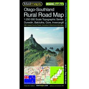 Kiwimaps Otago-Southland Rural Road Map 250-17