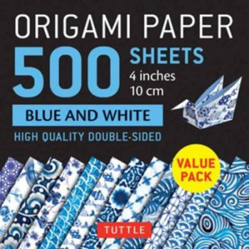 """Origami Paper 500 sheets Blue and White 4"""" (10cm): Tuttle Origami Paper: High Quality Double-Sided Origami Sheets Printed with 12 Different Designs"""